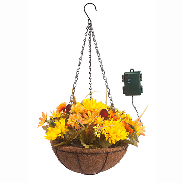 "10"" Lighted Mum Hanging Basket - View 2"