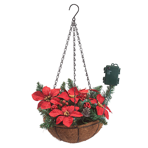 "10"" Lighted Poinsettia Hanging Basket - View 2"