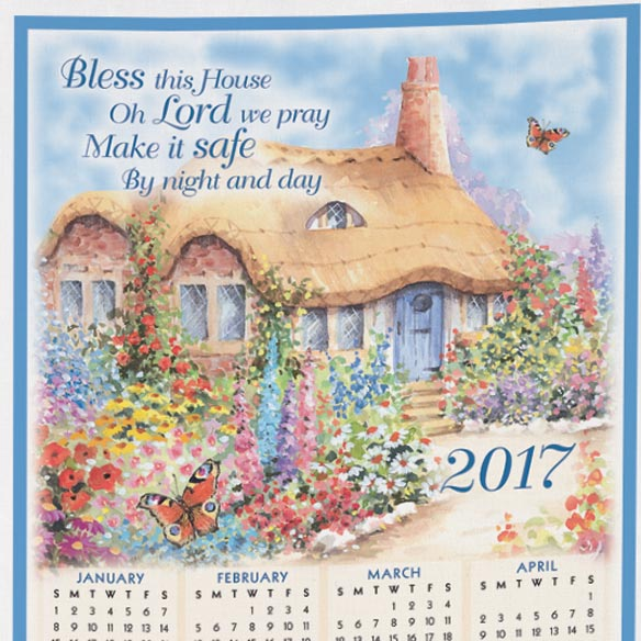 """Bless This House Oh Lord"" Personalized Calendar Towel - View 2"