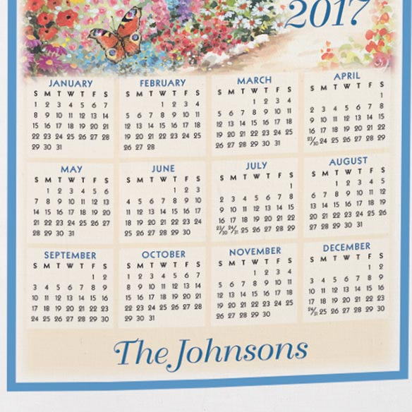 """Bless This House Oh Lord"" Personalized Calendar Towel - View 3"