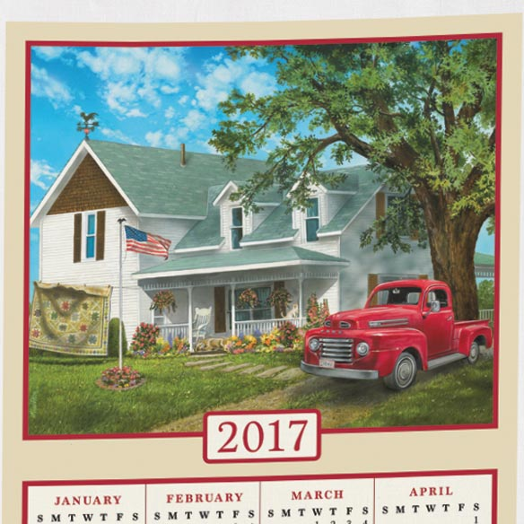 Americana Farmhouse Personalized Calendar Towel - View 2
