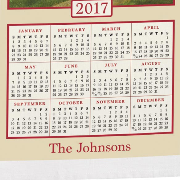 Americana Farmhouse Personalized Calendar Towel - View 3