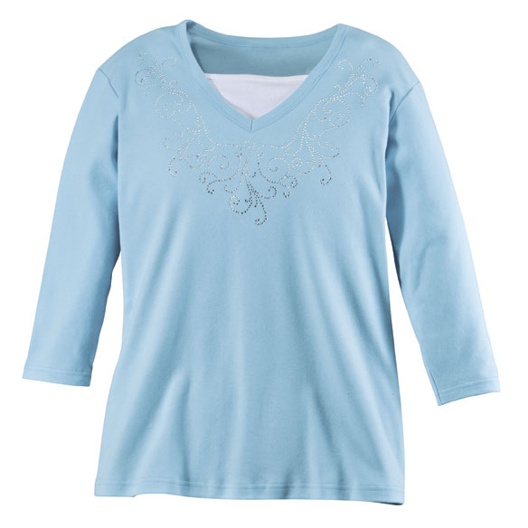 Embellished Swirls 3/4-Sleeve Top with Insert - View 3