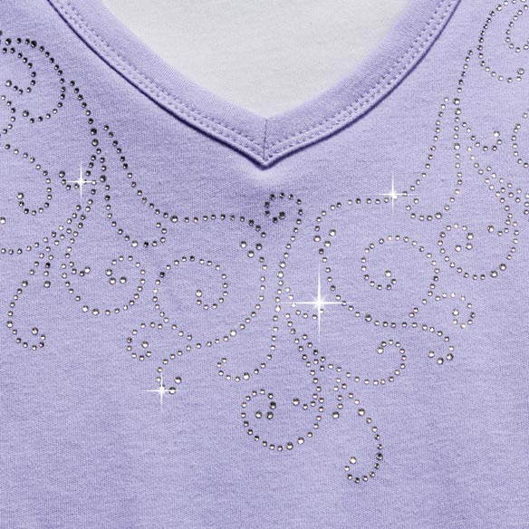 Embellished Swirls 3/4-Sleeve Top with Insert - View 4