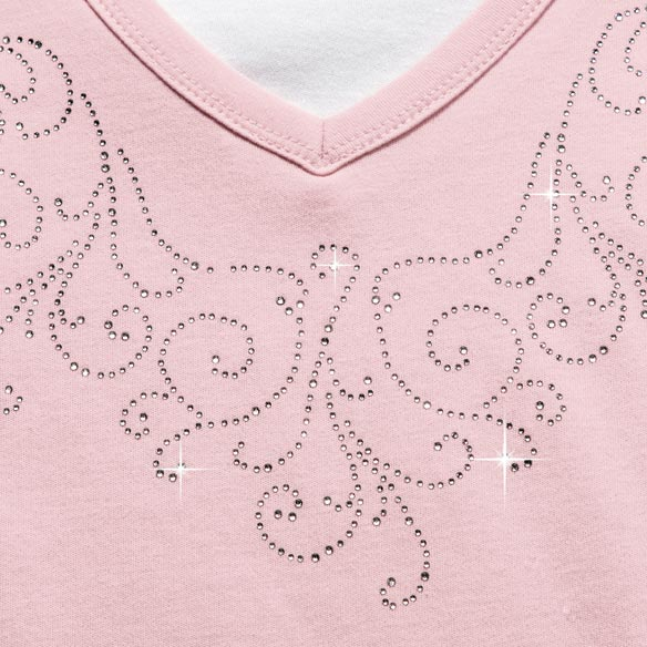 Embellished Swirls 3/4-Sleeve Top with Insert - View 5