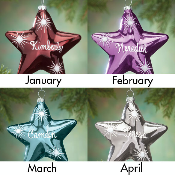 Personalized Birthstone Star Ornament - View 2