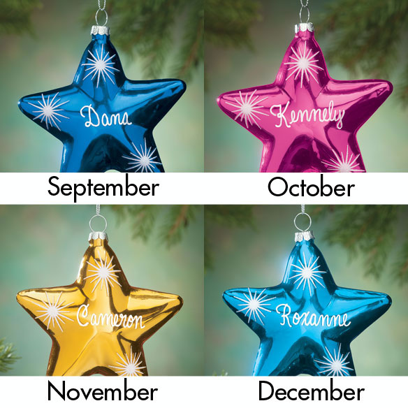Personalized Birthstone Star Ornament - View 4