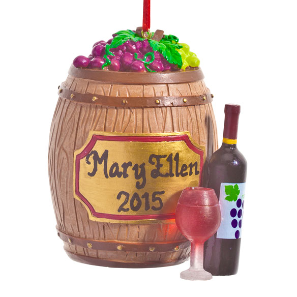 Personalized Wine Barrel Ornament - View 2