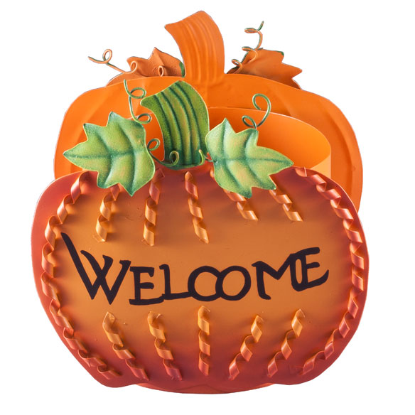 Welcome Pumpkin Planter by Maple Lane Creations™ - View 2