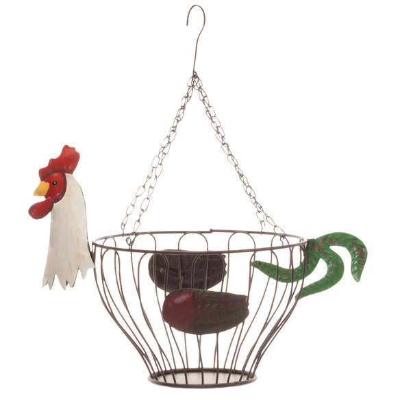 Hanging Rooster Fruit Basket - View 3