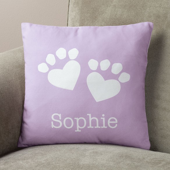 Personalized Paw Print Heart Pillow - View 2