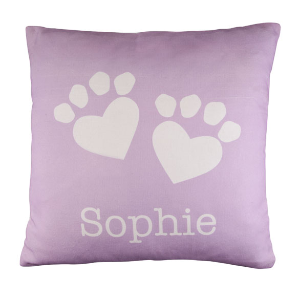 Personalized Paw Print Heart Pillow - View 3
