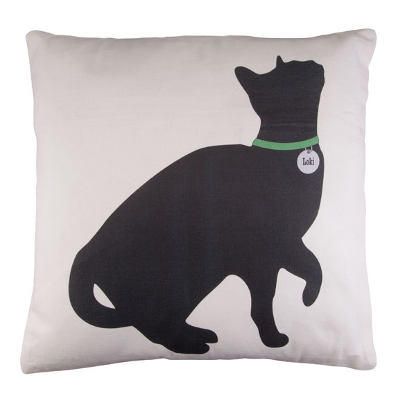 Begging Cat Silhouette Pillow - View 2