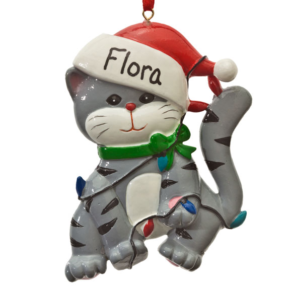 Personalized Cat in Lights Ornament - View 2