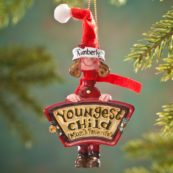 Mom's Favorite Youngest Child Ornament - View 2