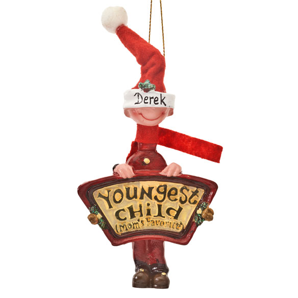 Mom's Favorite Youngest Child Ornament - View 3