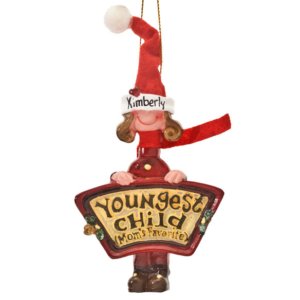 Mom's Favorite Youngest Child Ornament - View 4