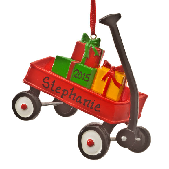 Personalized Wagon with Gifts Ornament - View 2