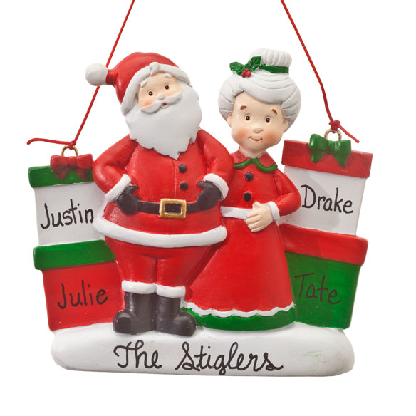 Personalized Mr. and Mrs. Claus with Presents Ornament - View 3