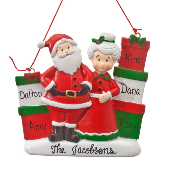 Personalized Mr. and Mrs. Claus with Presents Ornament - View 4