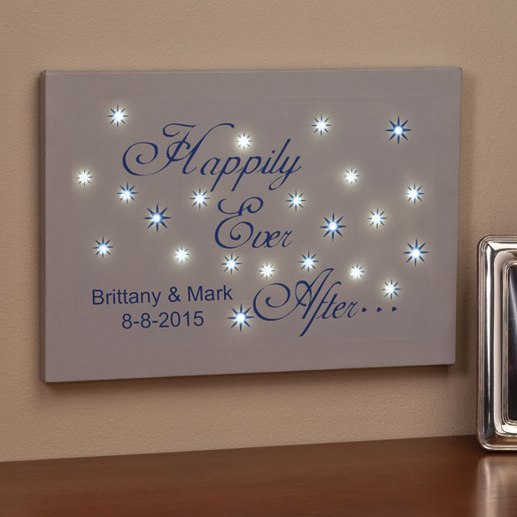 Personalized Happily Ever After Lighted Canvas - View 3
