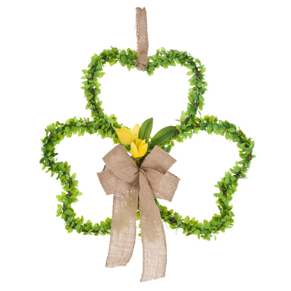 Shamrock Grapevine Wreath with Flowers - View 2