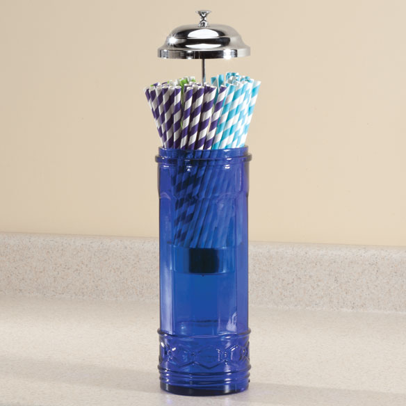 Cobalt Blue Glass Straw Dispenser - View 2
