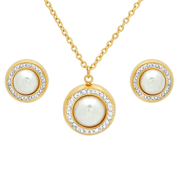 Faux Pearl Earring and Necklace Set - View 2