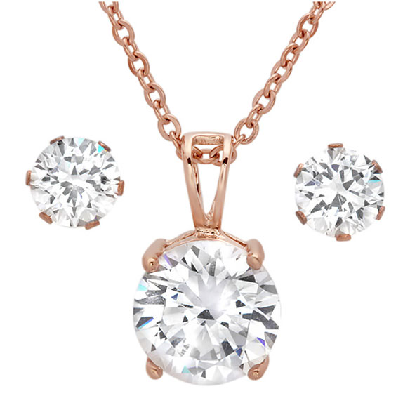 CZ Earring and Necklace Set - View 3