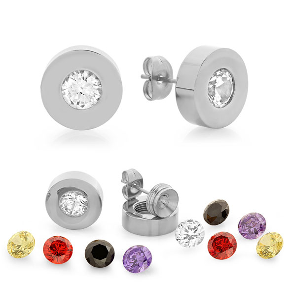 Interchangeable CZ Stud Earrings - View 2