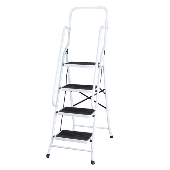 Folding Four-Step Ladder with Handrails - View 2