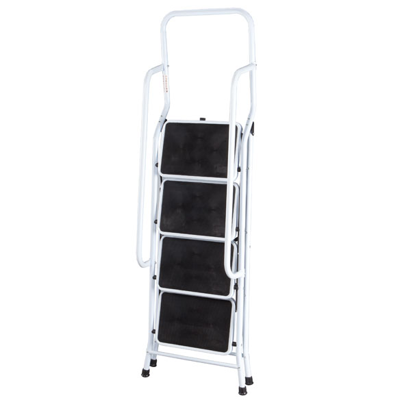 Folding Four-Step Ladder with Handrails - View 3
