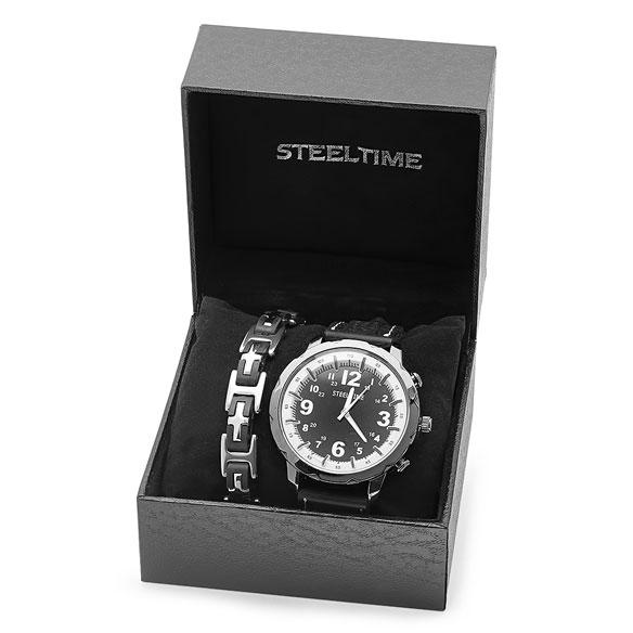 Men's Black and White Watch and Bracelet Set - View 2