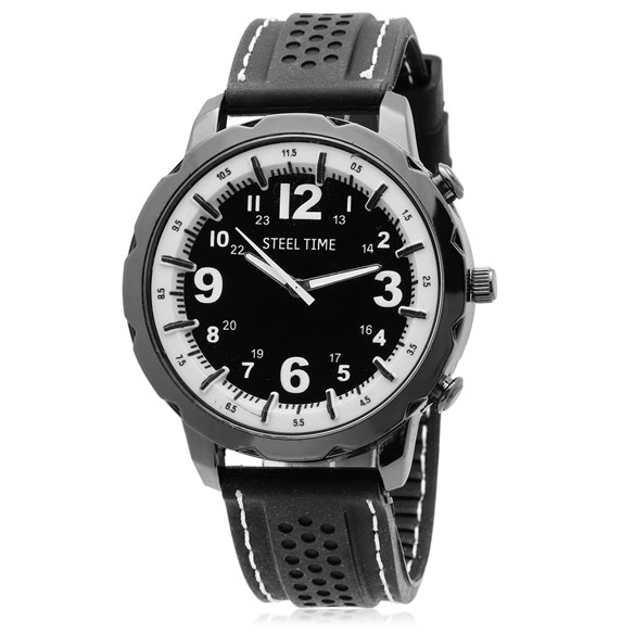 Men's Black and White Watch and Bracelet Set - View 3
