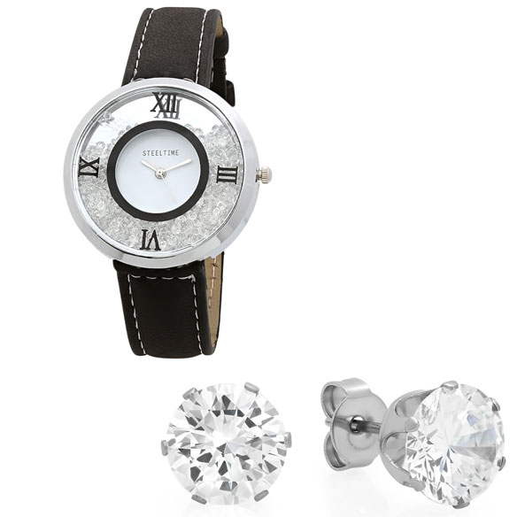 Women's Floating Crystal Watch and Earring Set - View 2