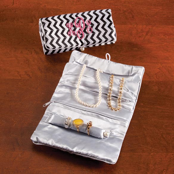 Personalized Chevron Travel Jewelry Roll - View 2