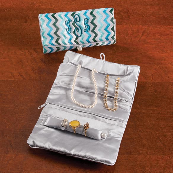Personalized Chevron Travel Jewelry Roll - View 4