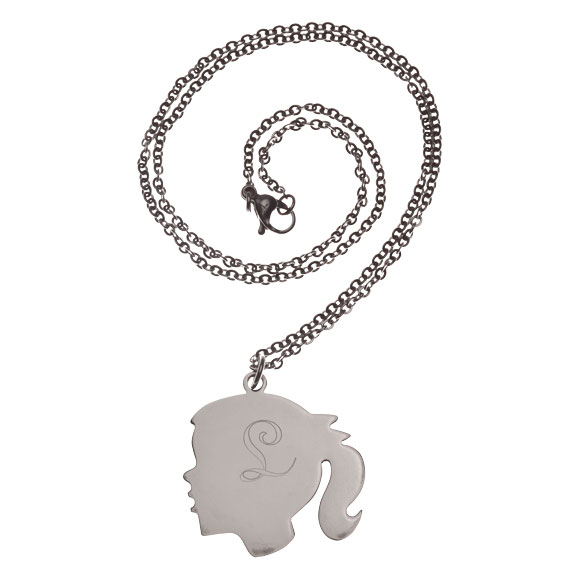 Personalized Silhouette Girl Necklace - View 2