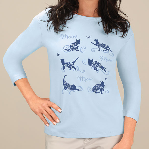 Floral Cat 3/4-Sleeve Crew Neck Shirt - View 2