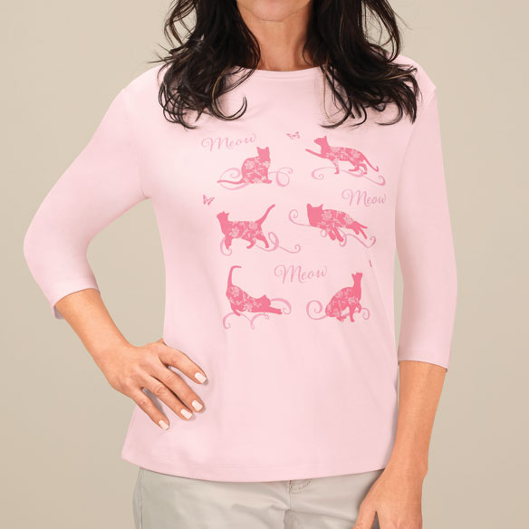 Floral Cat 3/4-Sleeve Crew Neck Shirt - View 3