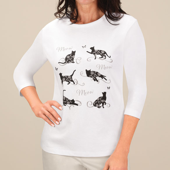 Floral Cat 3/4-Sleeve Crew Neck Shirt - View 4