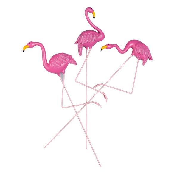 Resin Flamingo Planter Stakes by Maple Lane Creations™, Set of 3 - View 2