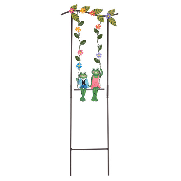 Swinging Frog Couple Lawn Stake by Maple Lane Creations™ - View 2