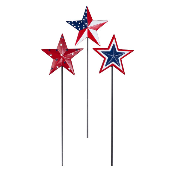 Barn Star Planter Stakes by Maple Lane Creations™, Set of 3 - View 2