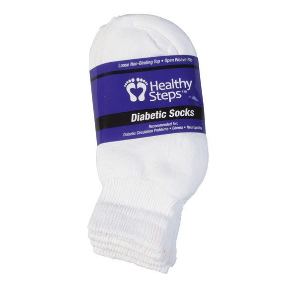 Healthy Steps™ Quarter-Cut Diabetic Socks, 3 Pack - View 5
