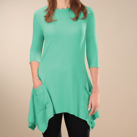3/4-Sleeve Crew-Neck Tunic with Pockets - View 2