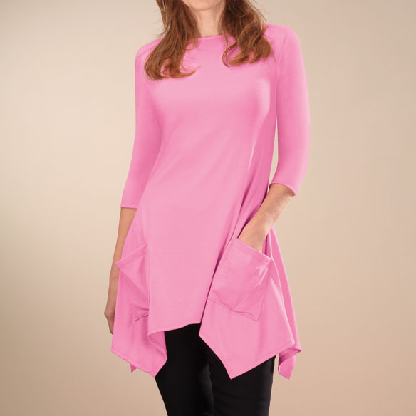3/4-Sleeve Crew-Neck Tunic with Pockets - View 3