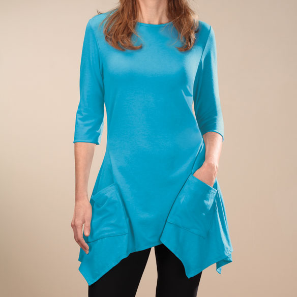 3/4-Sleeve Crew-Neck Tunic with Pockets - View 4