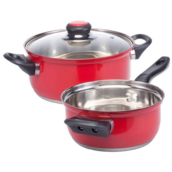 Red Stainless Steel Sauce Pans Set of 2 by HomeStyle Kitchen - View 2