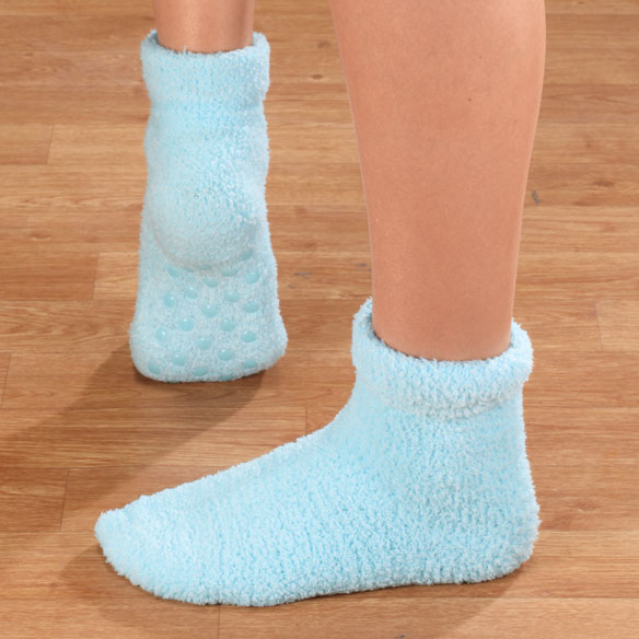 Fluffy Chenille Socks with Grippers, 2 pr. - View 4
